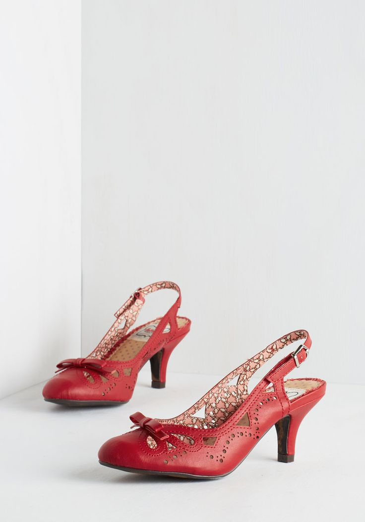 A Heel After Your Own Heart in Red. These vivacious vintage-inspired heels by Bettie Page really speak to your fashion sensibilities. #red #wedding #modcloth