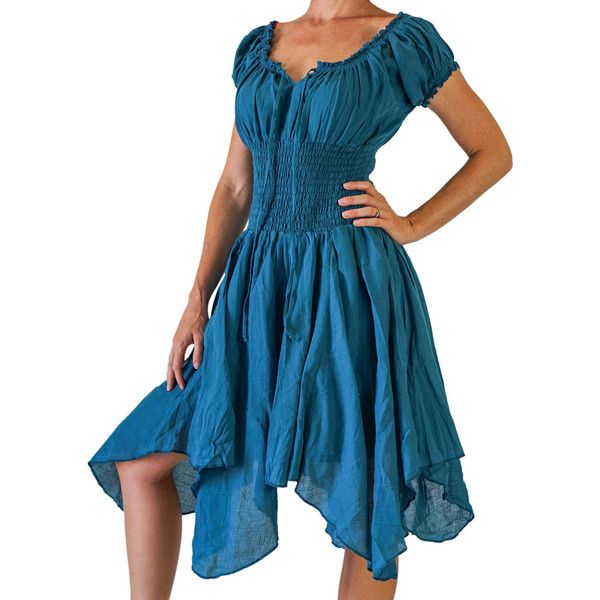 Petal Dress Teal Blue Medieval Pirate Dress Renaissance Festival... (80 CAD) ❤ liked on Polyvore featuring dresses, grey, women's clothing, steampunk costume, womens pirate halloween costume, pirate costume, renaissance costumes and gypsy costume