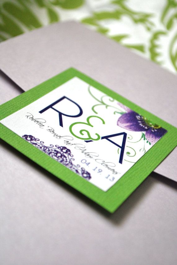 Purple and Green Wedding Invitation by OuttheBoxCreative on Etsy