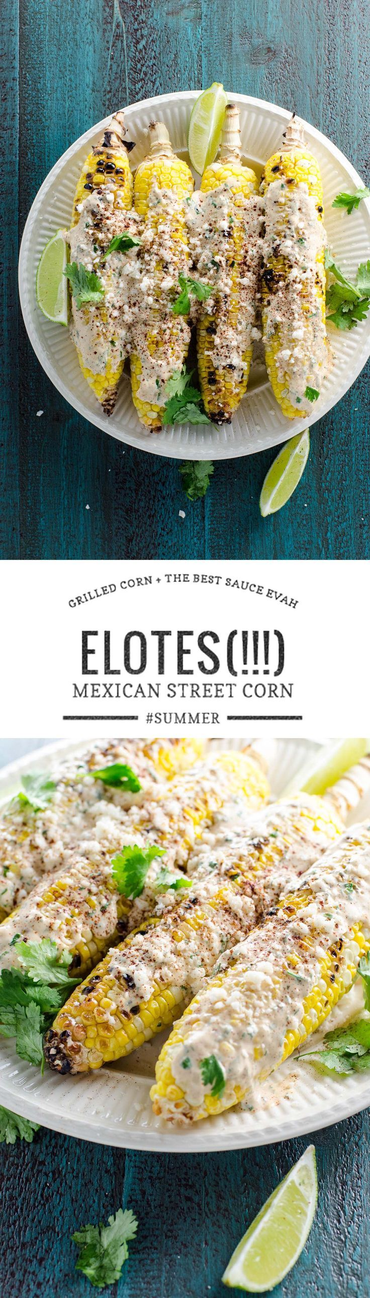 Grilled Mexican street corn (elotes) deserves all the hype. It's easy, so delicious and perfect for your next party...or dinner...or lunch. via @umamigirl
