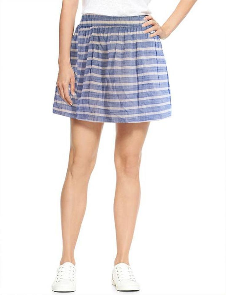 A-Line skirt Size XXL 2XL GAP Women's shirred Striped Lined Blue Color NWT #GAP #ALine