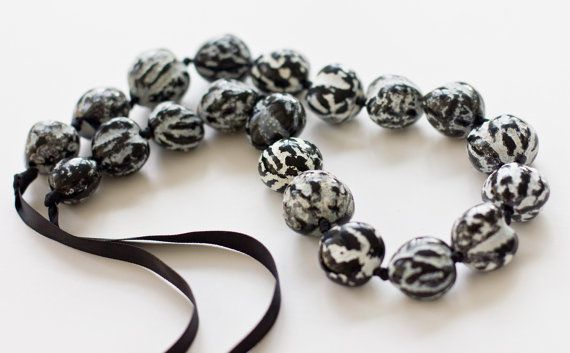Black And White Zebra Swirl Kukui Nut by beachgirlbodygoods, $14.00