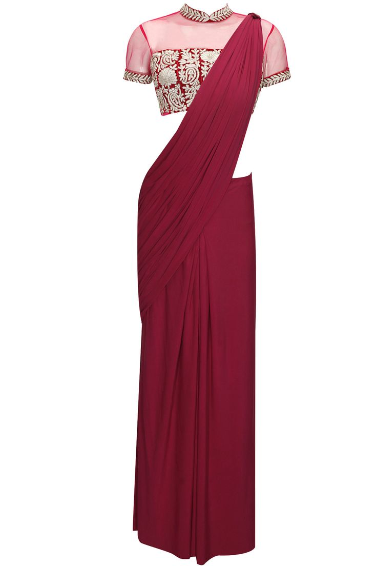 Berry pink pre draped sari with embroidered blouse by Chhavvi Aggarwal. Shop now: http://www.perniaspopupshop.com/designers/chhavvi-aggarwal #sari #chhavviaggarwal #shopnow #perniaspopupshop