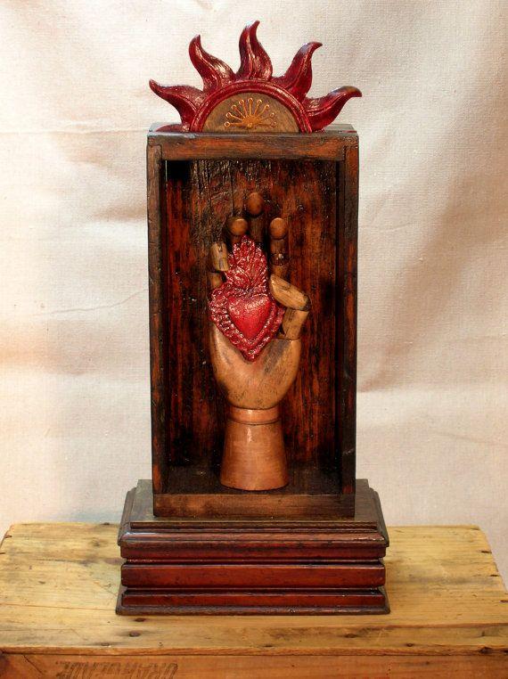 Assemblage  Upcycled Assemblage Primitive Shrine, Sacred Heart on Etsy, $175.00 Assemblage (c) Julie DeRosa