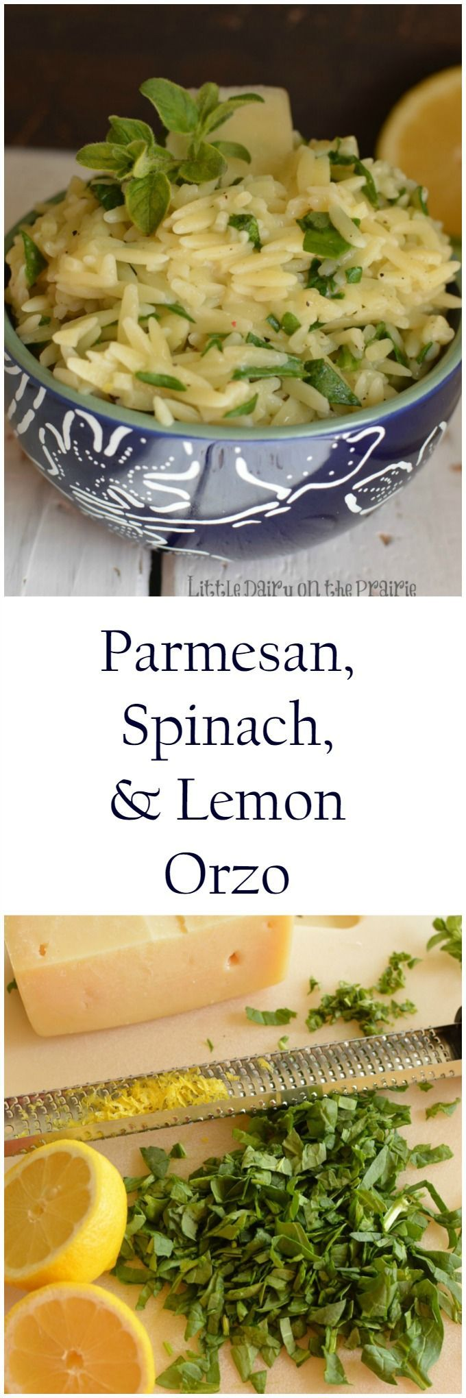 Parmesan, Spinach, and Orzo is a light and refreshing side dish your whole family will fall in love with!