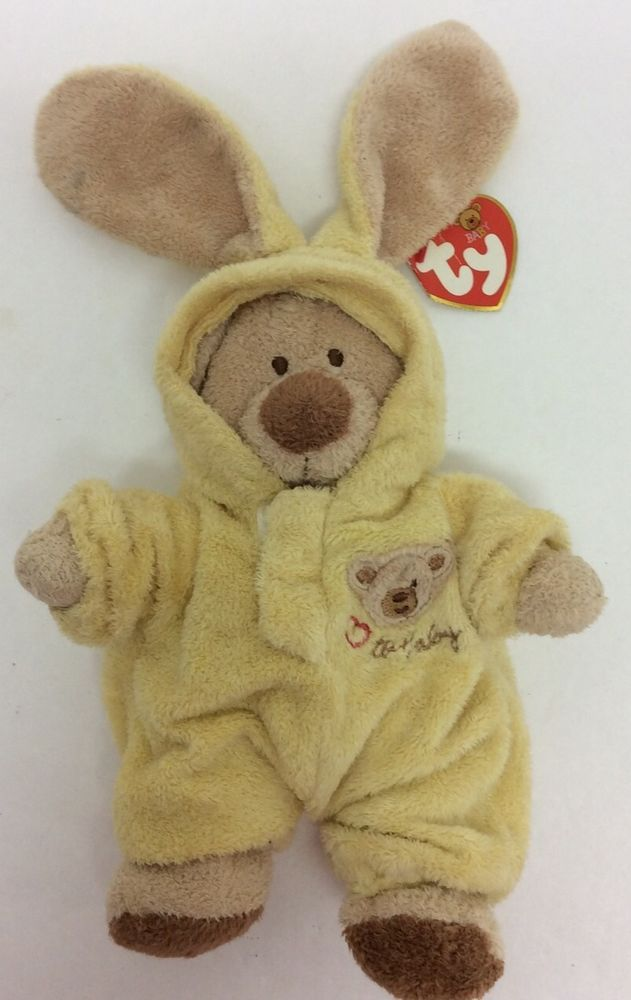 Ty Love To Baby Yellow Bear Bunny Outfit 8 2004 Pluffies