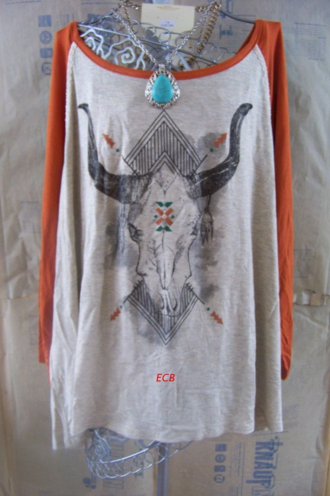NWT Made in USA bull western cowgirl brunt orange baseball top plus size 2X #madeinUSA #Western #Casual