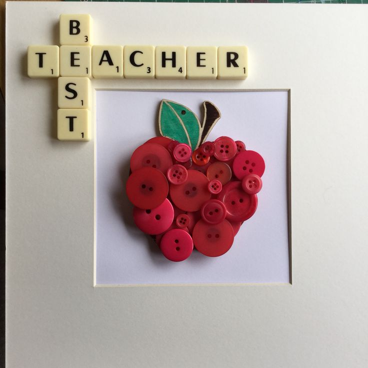 Handmade button craft using scrabble letters and hand painted apples. Perfect teacher gifts for your end of year presents!