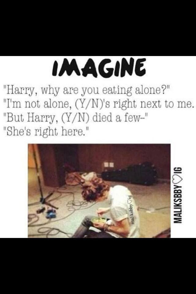I'm just repinning this because I'm amazed at how some directioner got this story out of one photo of Harry eating a salad. hahaha