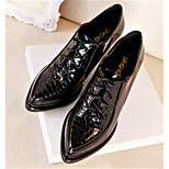 Oxford-kengät - Leveä korko - Naisten kengät - Tekonahka - Musta - Rento - Teräväkärkiset