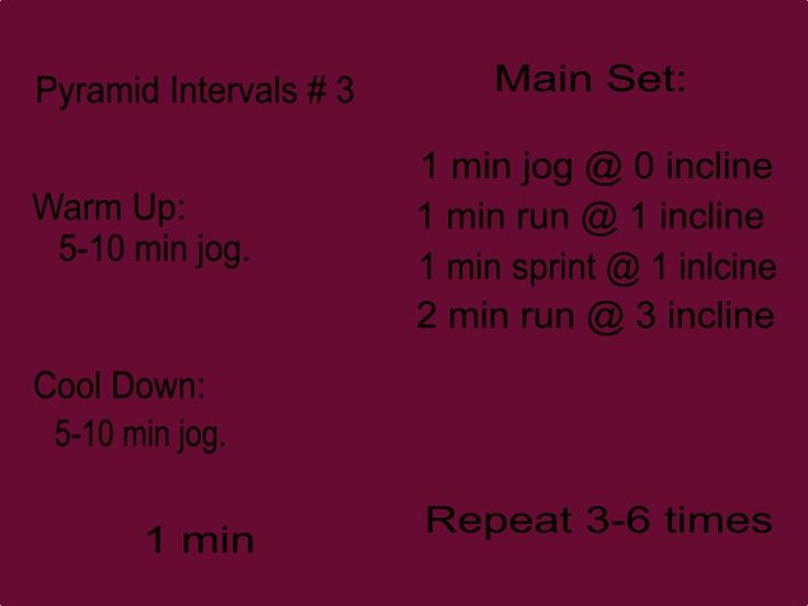 Pyramid Intervals # 3. This workout can take between 25 minutes and 50 minutes. Only have 25 minutes to workout? No problem, you can still fit in a great run. Warm up with a 5-10 min jog. Main Set: jog for a minute, run for a minute, sprint for a minute and finish the set with a two minute jog at 3 incline. Repeat entire main set 3-6 times. Finish with a 5-10 min cold down. The longer your workout the longer your cool down should be.