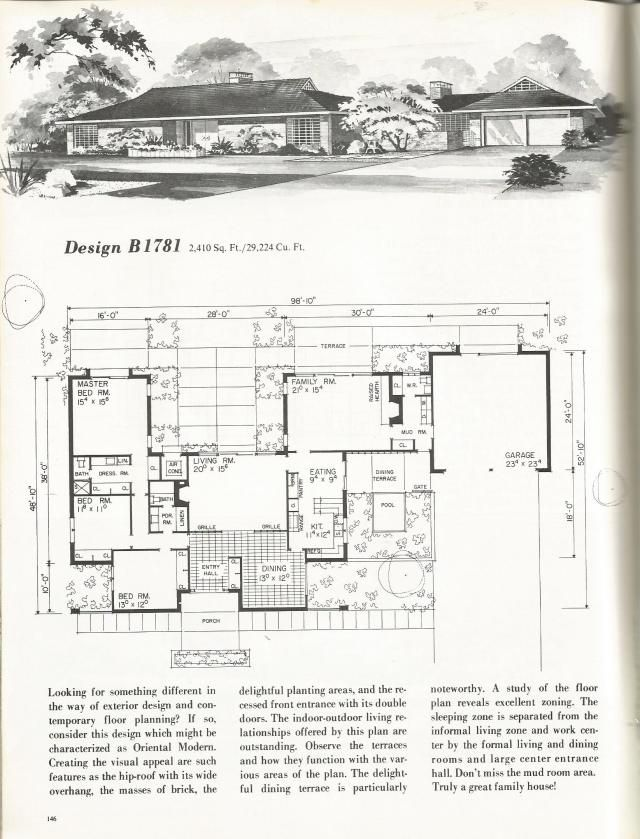 208 best ranch house images on pinterest ranch for Vintage ranch house plans