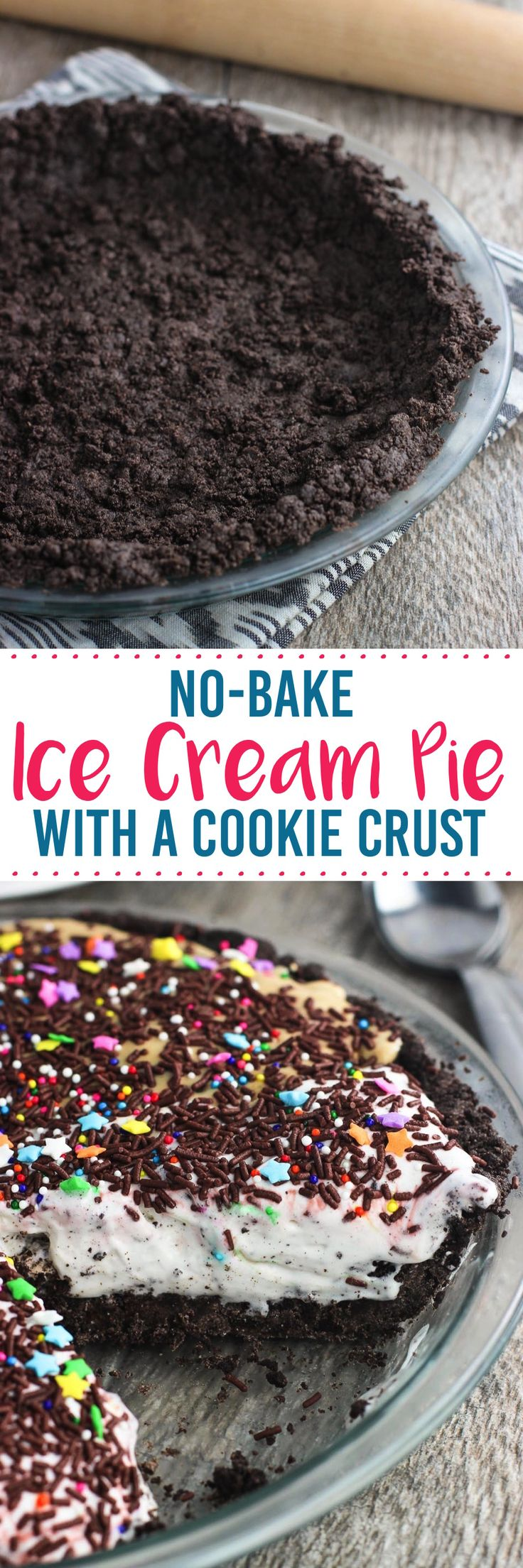 This no-bake ice cream pie is super simple + customizable! Oreo cookies form the base, which is filled with one or more of your favorite ice cream flavors.