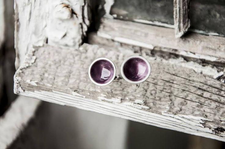 Fiolet enamel stud earrings, Rich Fiolet, Lilac Enamel Silver Dome Post Earrings, Everyday Earrings, Dainty earrings by TwoCimmerians on Etsy