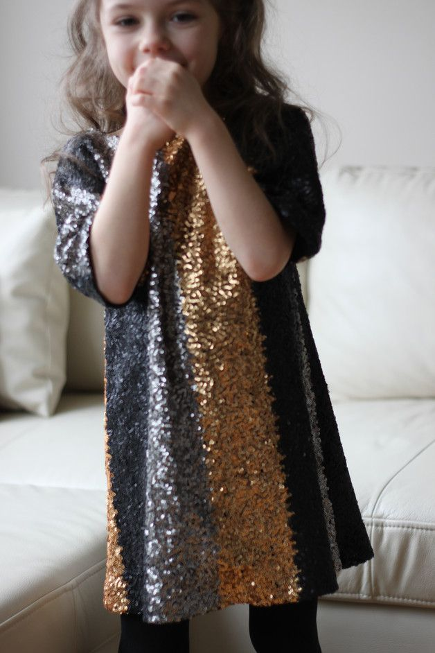 Great gift for your little princess. Dresses – Sequin girls dress black grey gold spring summer – a unique product by Maliposhaclothes via en.DaWanda.com
