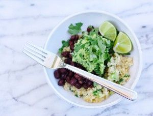 This quick and easy dish is a perfect dinner after a long day. The kale guacamole makes a great snack with raw veggies.  on goop.com. http://goop.com/recipes/cauliflower-black-bean-bowl-with-kale-guacamole/