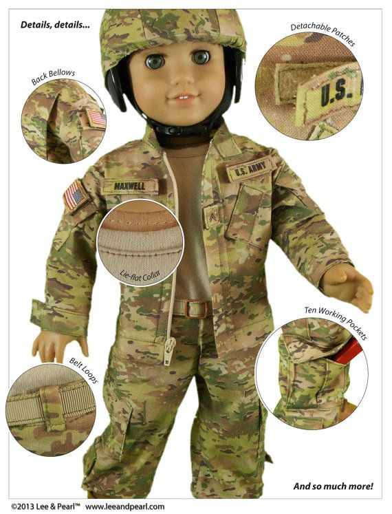 "L&P Pattern 1010 Army Combat Uniform Bundle by leeandpearl on Etsy  Details, details - this pattern for 18"" (American Girl) dolls has so many wonderful details!"