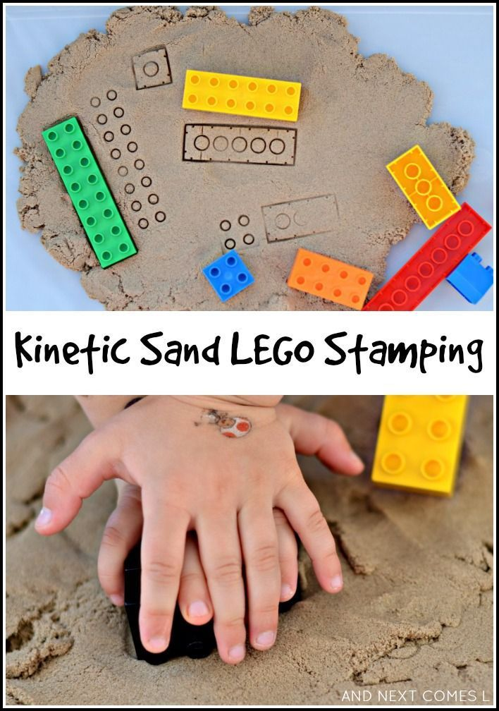 Kinetic sand LEGO stamping for kids from And Next Comes L