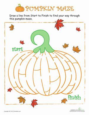 Thanksgiving Halloween Preschool Mazes Worksheets: Pumpkin Maze