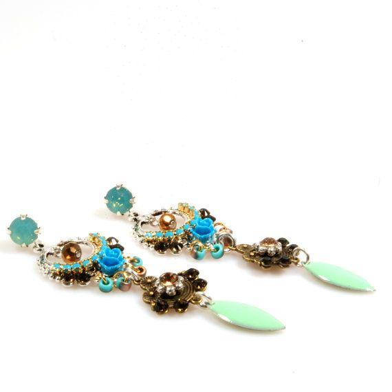 Oorbellen turquoise aqua Swarovski - brons en zilver - gypset, hippie Ibiza style - lange oorbellen  - hippie Ibiza stijl - handgemaakt