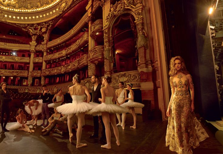 Grand Entrance: Natalia Vodianova and the Paris Opera Ballet's Benjamin Millepied – Vogue - Millepied, on the main stage with a group of his étoiles, has commissioned seven new ballets for next season. On Vodianova: Valentino Haute Couture organza dress with lamé and velvet flower embroidery. Photographed by Annie Leibovitz, Vogue, November 2014