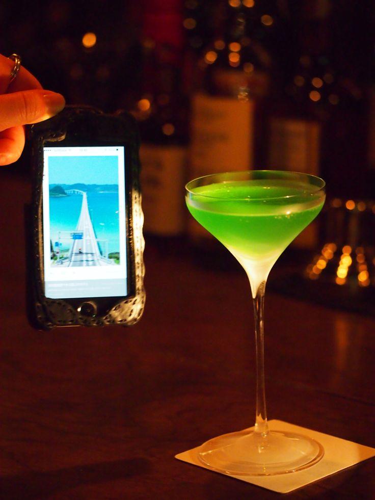 角島大橋をイメージして‼︎もっと青を意識したのに光の具合で緑に(⌒-⌒; )