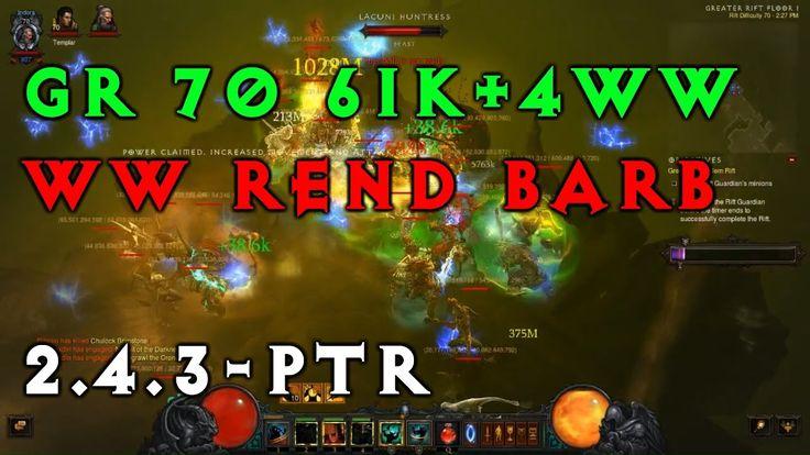 GR 70 Barbarian | Whirlwind Rend 2.4.3 PTR | Diablo 3 Season 9
