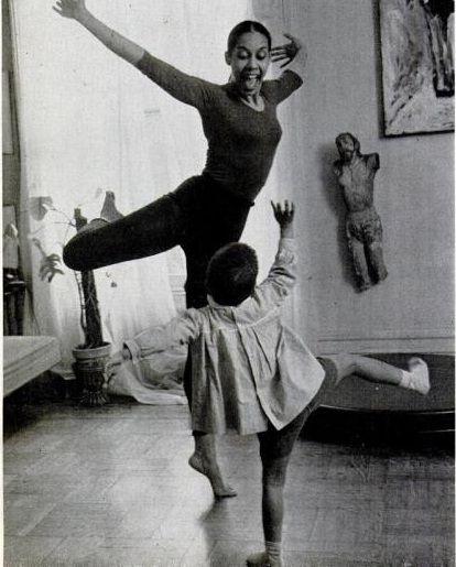 Carmen De Lavallade and 3 year old son, Leo, dancing; Photo via Ebony Magazine, July 1960