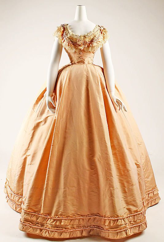 """Peach silk dress with evening bodice, French, ca. 1864. Labels: """"Mme. Cuper, Rue St. Honoré"""" and """"Walker S. Poor, Ridgefield, Conn., 2/27/45"""""""