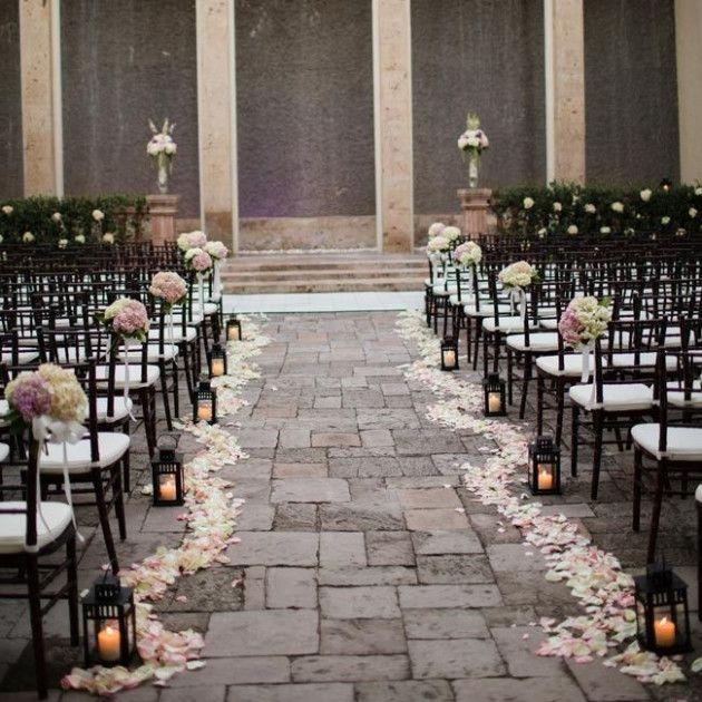 Church Wedding Lanterns Rose Petals