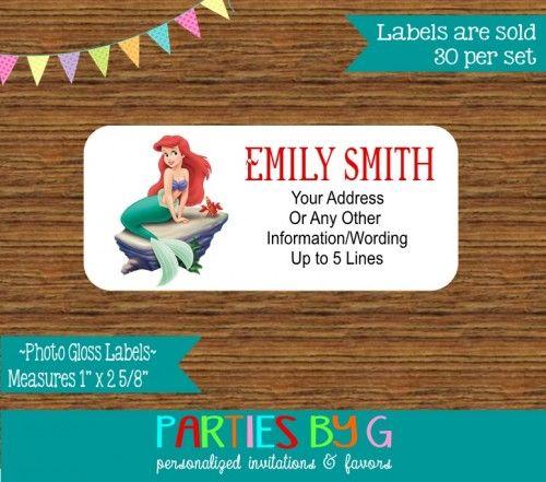 Little Mermaid Ariel Return Address Gloss Labels Personalized Custom