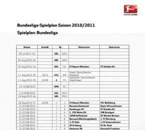 Bundesliga-Spielplan Saison 2010/2011 - Fußball-Bundesliga - Seit heute steht der Bundesliga-Spielplan Saison 2010/2011 fest.