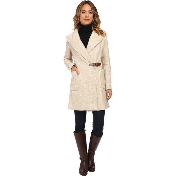 LAUREN Ralph Lauren Buckle Front Wrap Coat (Fawn) ($193) ❤ liked on Polyvore featuring outerwear, coats, beige, pink coat, oversized hooded coat, oversized coat, wrap coat and lauren ralph lauren coats