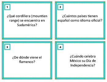 This package includes:Answer KeyRecording Sheet24 Task Cards on Trivia about Spanish and Latin Countries in Spanish including:~geography~capital cities~cultural questions~language questionsPerfect for Fun, Cultural Learning and Sub Activity. Instructions: print on card stock and print out.