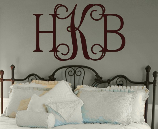 i love using wall decals, and i love monograms!
