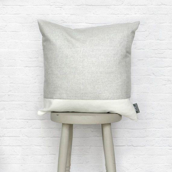 Grey & White Cushion Stripe Linen Cotton Mix by REWHomeware