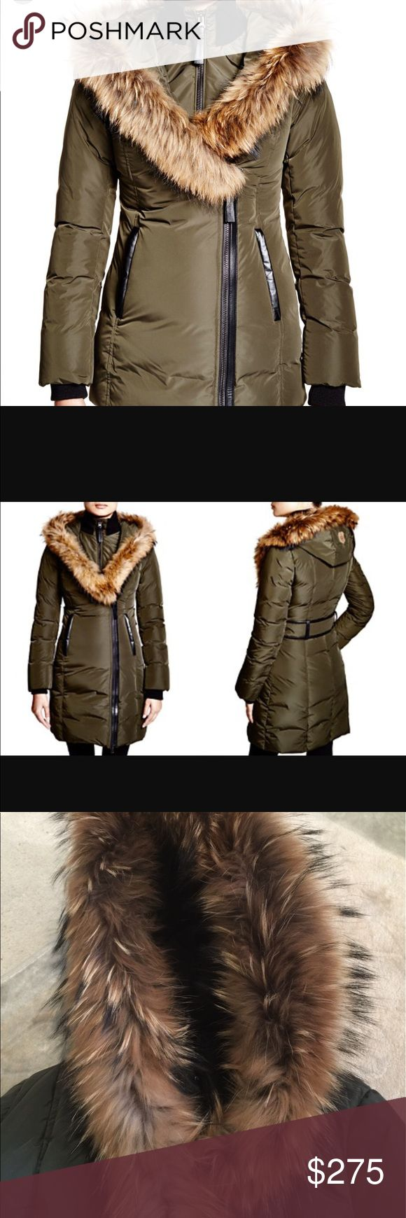 Mackage ADALI  women's down jacket with fur Mackage down jacket. This is a BEAUTIFUL  coat. It's warm and has a fitted look. The color is an army green. Real fur trim and has only been worn a few times it looks new. Size small Mackage Jackets & Coats Puffers
