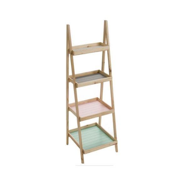 Estantería de madera natural con 4 baldas en distintos colores de tonalidad pastel. Medidas: 48 x 44 x 143,5 cm. Material: Madera.