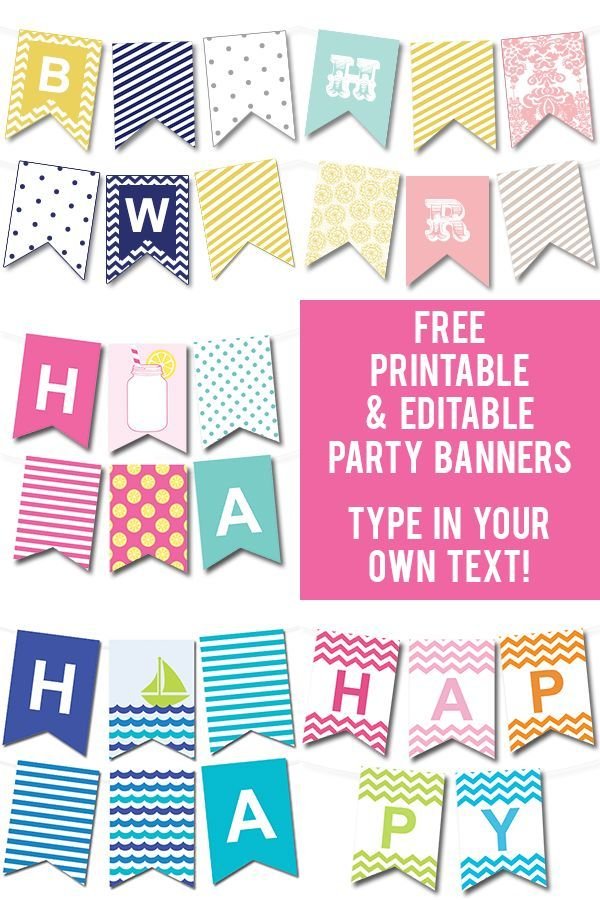 Lots of FREE printable party banners - you can make any banner you'd like by typing in your own text! #freeprintable: