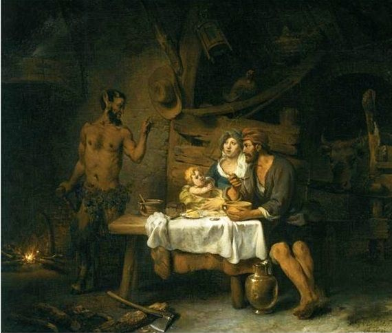 Mythology: 24 Paintings and Prints portraying The Satyr and the Traveller (or Peasant), one of Aesop's Fables