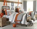 Tiger Rugby | Pottery Barn Kids Grey and Orange boys bedroom decor with industrial elements.