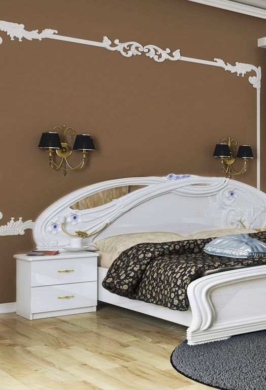 White bed in a brown bedroom in baroque. Interior design