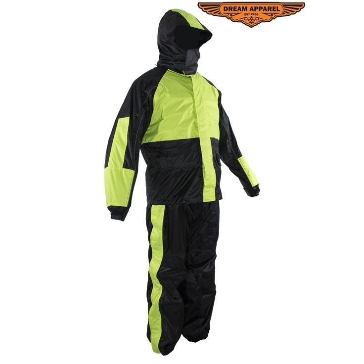 Two-Piece Black & Fluorescent Rain Suit With Zippered Side Seams