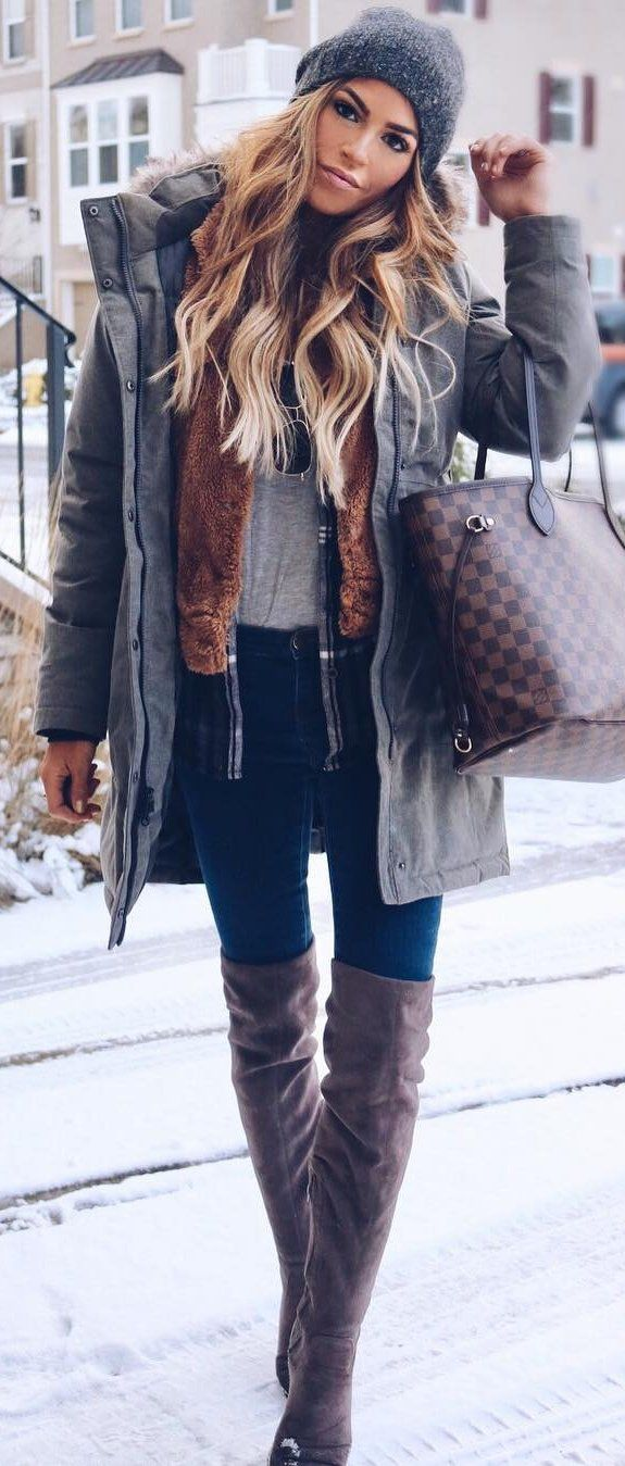 Grey Beanie, Grey Jacket, Navy Skinny Jeans, Brown Velvet OTK Boots #winter #outfits