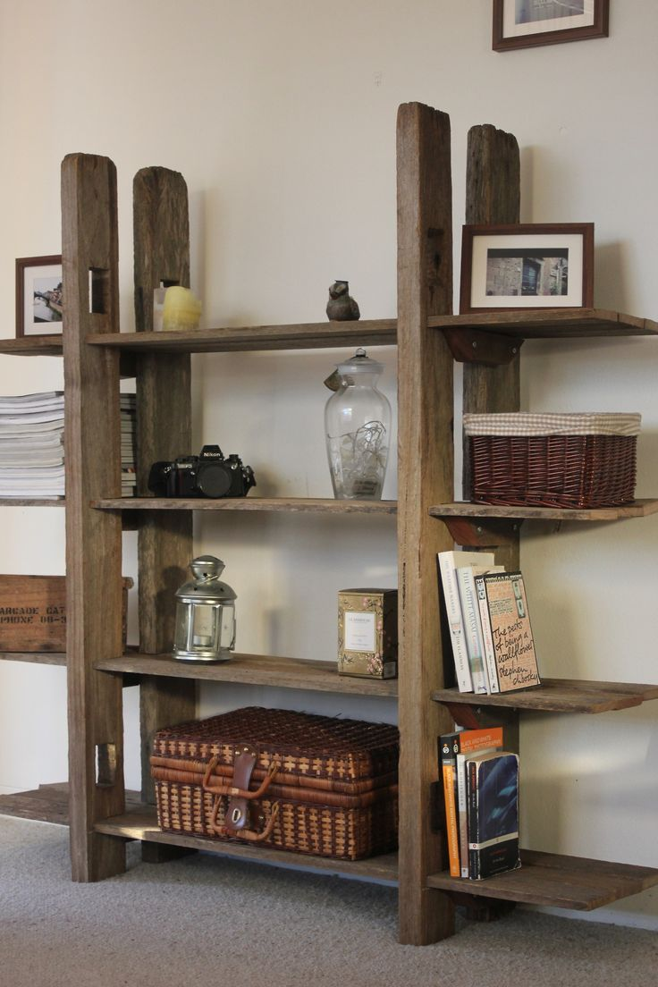 Bookshelf made from rescued fence posts