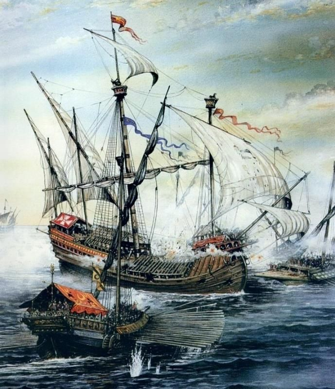 Artist depiction of a skirmish between a venetian Carrack and a Turkish galley