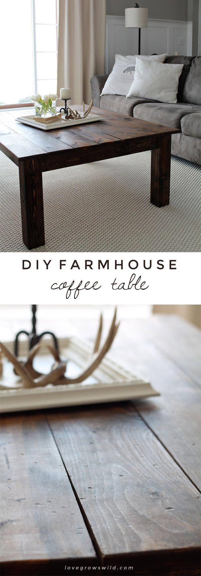 Learn how to build this rustic wood farmhouse coffee table at LoveGrowsWild.com! Click for more photos, supply list, and tutorial!