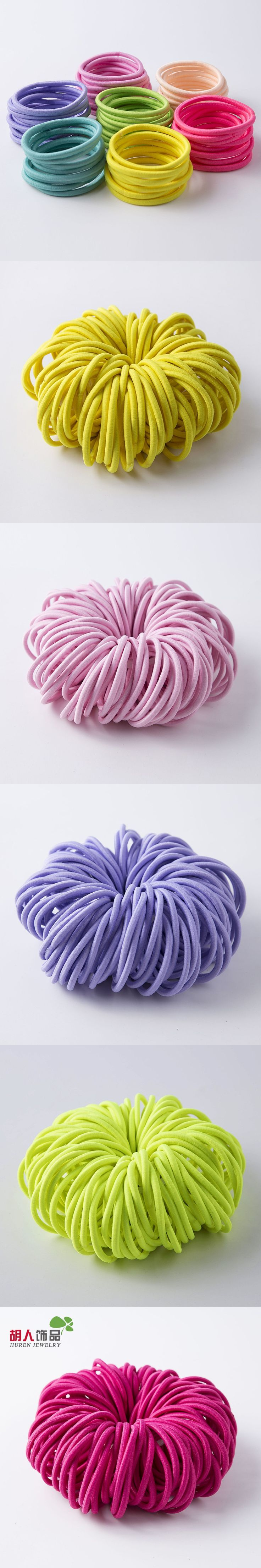 100Pcs Candy Color Baby Headband Hair Ropes Ponytail Holders 4mm Thick Rubber Elastic Hair Band Hair Accessories for Girls $8.99