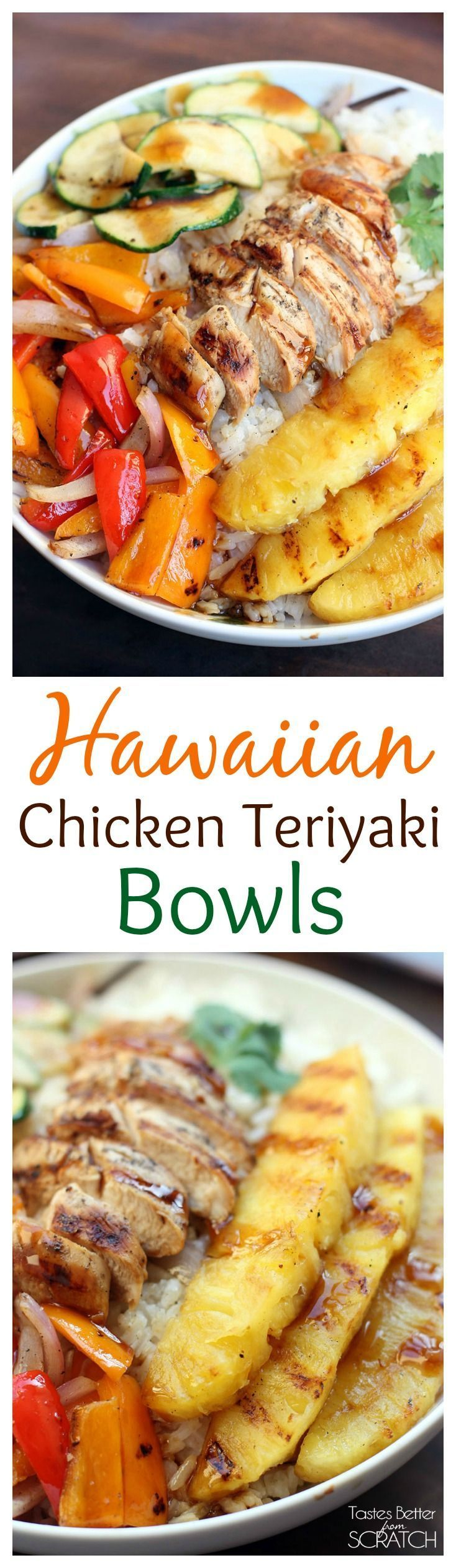 Grilled Hawaiian Chicken Teriyaki Bowls with coconut rice and grilled pineapple on TastesBetterFromScratch.com