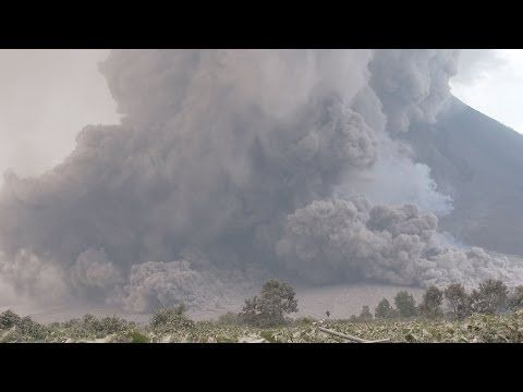 ▶ Extreme Pyroclastic Flows At Sinabung Volcano, Indonesia 21st Jan 2014 - Mount Sinabung is a Pleistocene-to-Holocene stratovolcano of andesite and dacite in the Karo plateau of Karo Regency, North Sumatra, Indonesia, 25 miles from Lake Toba supervolcano.